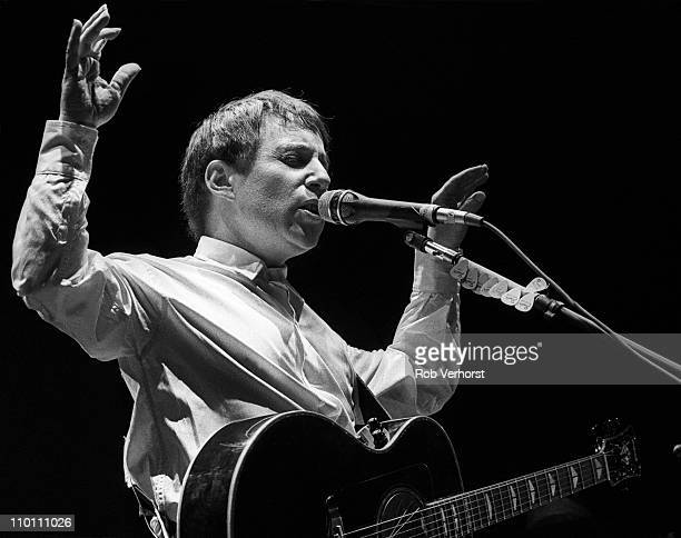 Paul Simon performs live on stage on the Graceland tour at Ahoy in Rotterdam Netherlands on 1st February 1987