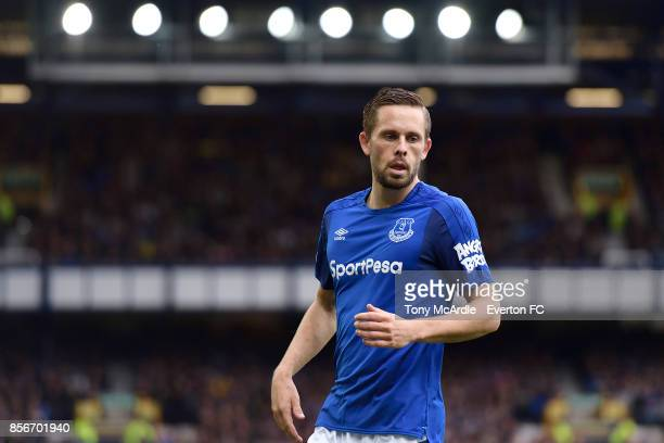 Gylfi Sigurdsson of Everton during the Premier League match between Everton and Burnley at Goodison Park on October 1 2017 in Liverpool England