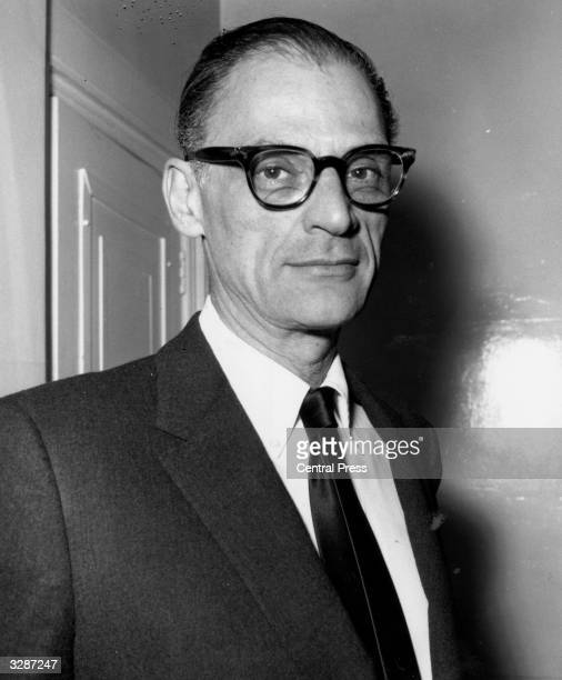 Arthur Miller American playwright arriving at the Old Vic to see his own play 'The Crucible'