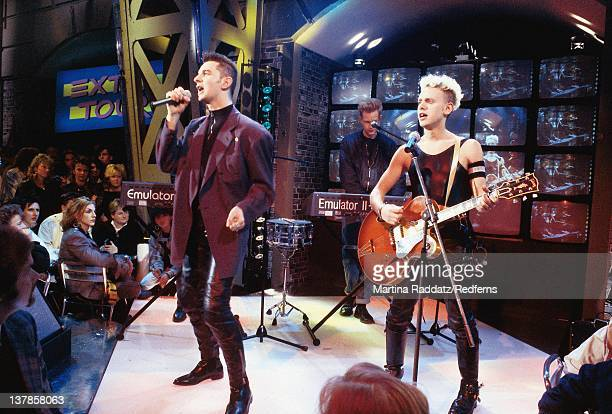 Dave Gahan and Martin Gore from Depeche Mode perform live on a TV show in Germany in 1987 Emulator II keyboard being played behind