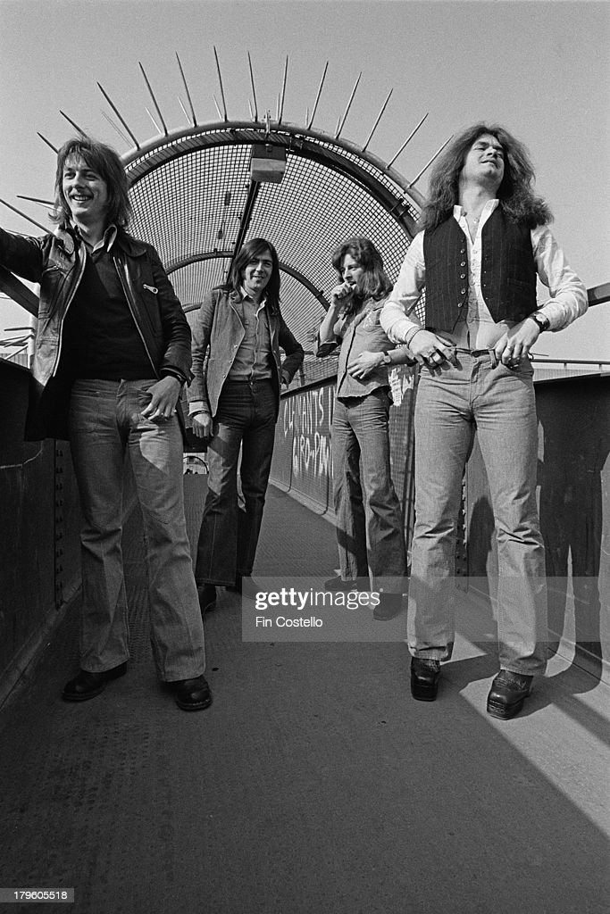 Dave Holland Mel Galley Pete MacKie and Glenn Hughes from English rock group Trapeze posed in London in 1973