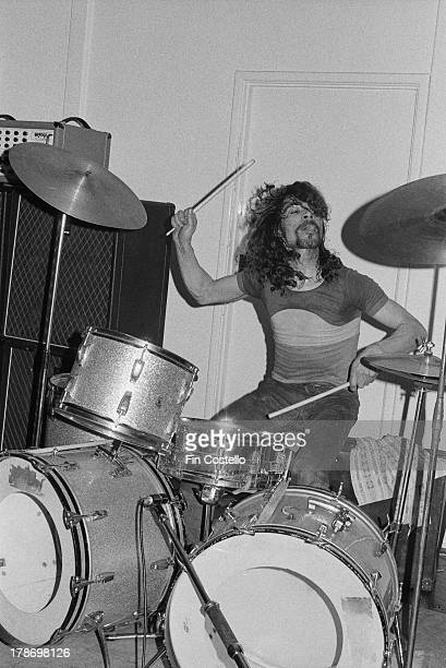 Drummer Ray Phillips from Budgie performs live on stage at St Andrew's Hall in Reading England in January 1973