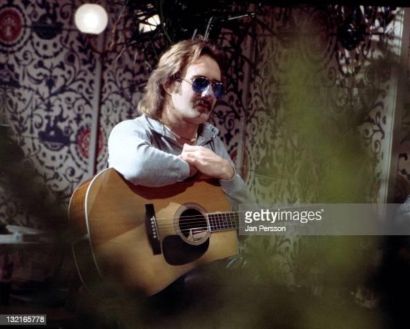 Dutch guitarist Jan Akkerman from rock band Focus posed on stage in Copenhagen Denmark in 1974