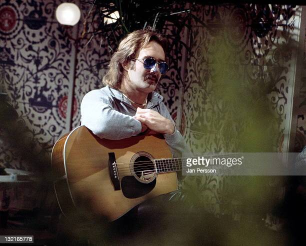 Dutch guitarist Jan Akkerman from rock band Focus posed on stage in Copenhagen Denmark in 1974
