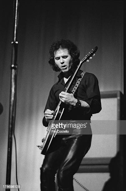 Guitarist Tony Bourge from Budgie performs live on stage at St Andrew's Hall in Reading England in January 1973
