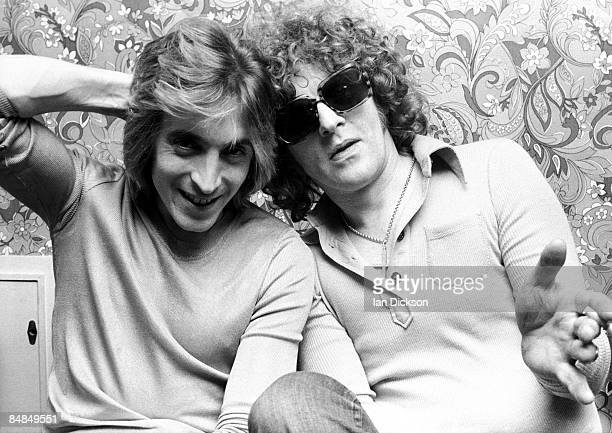 Guitarists Mick Ronson and Ian Hunter from The Hunter Ronson Band posed at Air Studios in Oxford Street London in 1974