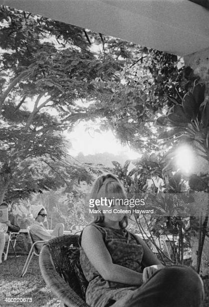 John Lennon's wife Cynthia Lennon relaxes in the shade whilst on holiday with John and Ringo in Port Of Spain Trinidad in January 1966