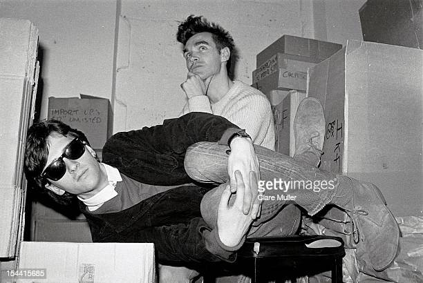 Johnny Marr and Morrissey from The Smiths pose together in the store room of Rough Trade records in London in 1983