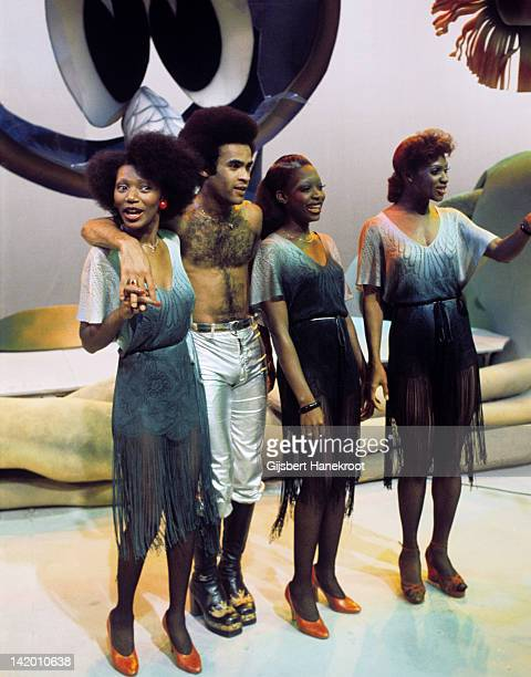 Liz Mitchell Bobby Farrell Maizie Williams and Marcia Barrett of Boney M pose for a group portrait at TopPop TV studios in Hilversum Netherlands in...