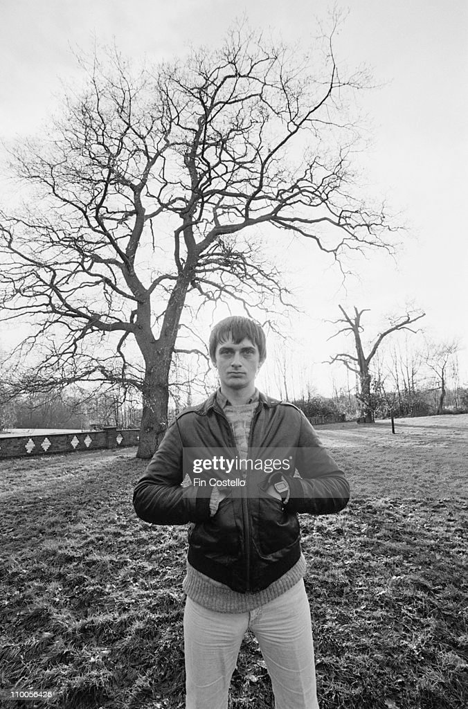 Mike Oldfield posed in a field at his home in Denham, Buckinghamshire, England in January 1982.
