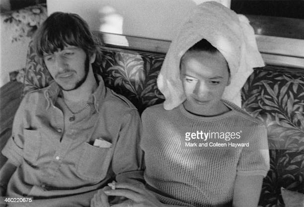 Ringo Starr from The Beatles relaxes in the shade with his wife Maureen Starkey on holiday in Port Of Spain Trinidad in January 1966