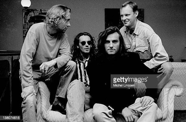 Scottish band Wet Wet Wet posed together in the Netherlands in 1991 Left to right Neil Mitchell Graeme Clark Marti Pellow and Tommy Cunningham