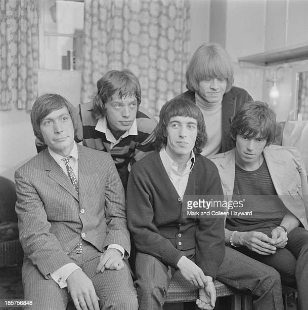 The Rolling Stones posed backstage on tour in Scotland in early 1964 Left to right Charlie Watts Mick Jagger Bill Wyman Brian Jones and Keith Richards