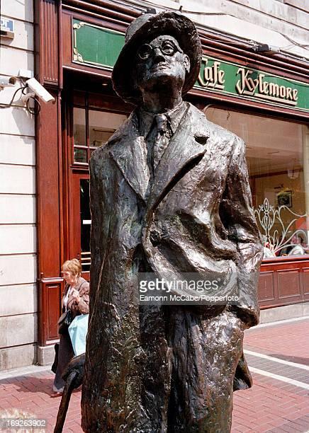 View of a statue of Irish novelist James Joyce in Earl Street Dubin