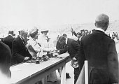 Competitors at the 1908 London Olympics receiving their medals