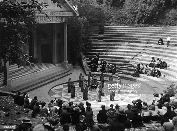 A performance of Euripides' tragedy 'Iphigenia In Tauris' at the Greek Theatre at Bradfield College Berkshire