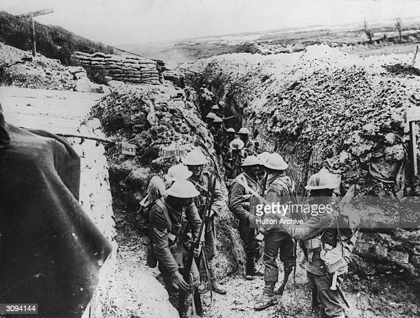 The 1st Lancashire Fusiliers fixing bayonets prior to the assault on Beaumont Hamel during the Battle of Albert