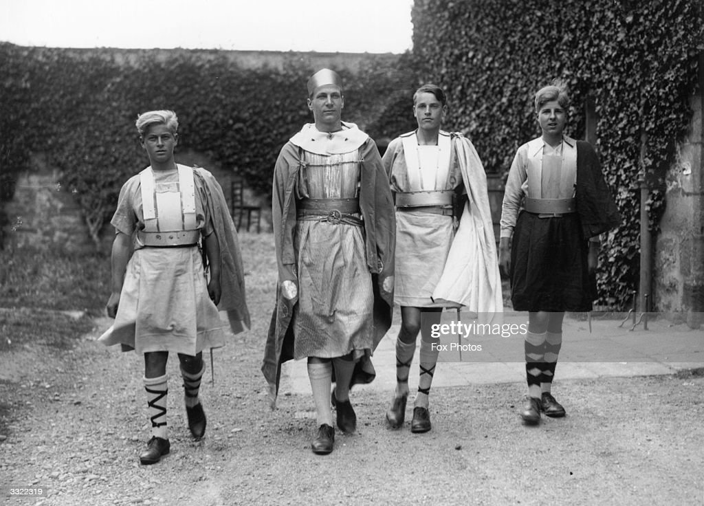 Prince Philip of Greece (left) dressed for the Gordonstoun School's production of 'MacBeth', in Scotland. Gordonstoun School, near Elgin, was founded in 1934 by German educationalist Kurt Hahn who belived in a holistic approach to teaching. Creative and personal development, considered of equal merit to traditional education, is encouraged among the 450 boarders.