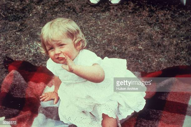 Lady Diana Spencer later the wife of Prince Charles on her first birthday at Park House Sandringham
