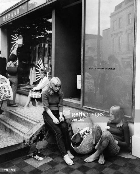 Young women outside the English designer Mary Quant's boutique 'Bazaar' on the King's Road Chelsea London