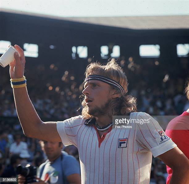 Swedish tennis player Bjorn Borg during the Men's semifinal at Wimbledon