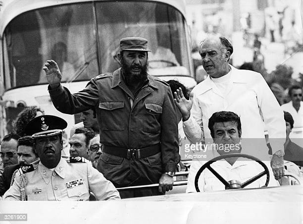 Cuban dictator Fidel Casto with Mexican President Jose Lopez Portillo on a visit to Cozumel Island Mexico