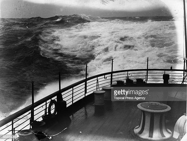 Rough seas seen from the deck of the Cunard liner 'Lusitania' which was sunk by a German torpedo in 1915 with great loss of life