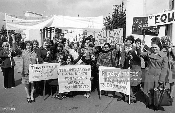 Women pickets protesting outside the Trico factory Great West Road London during the equal pay for women dispute