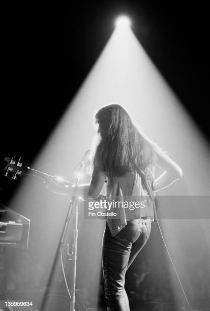 Bassist Geddy Lee from Canadian Progressive rock group Rush performs live on stage during the Permanent Waves tour of England in June 1980