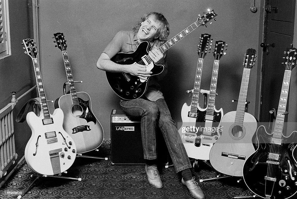 Guitarist Alex Lifeson of Canadian progressive rock band Rush at a guitar endorsement event in London June 1980