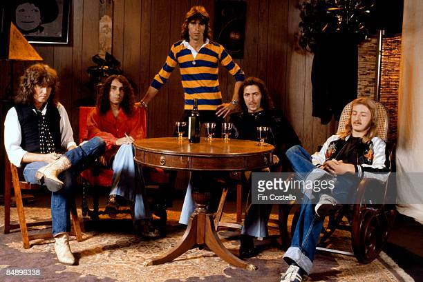 Photo of English rock band Rainbow posed in Los Angeles USA in June 1977 Left to right Bob Daisley Ronnie James Dio Cozy Powell Ritchie Blackmore and...