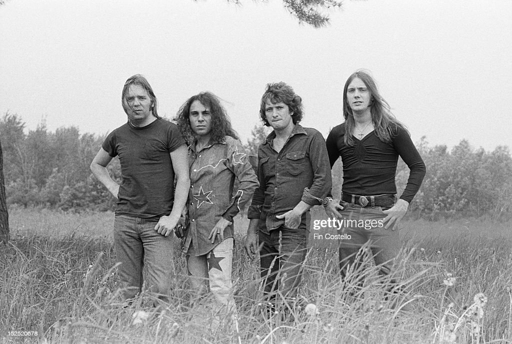 Rock band Rainbow posed in Syracuse New York in June 1975 The line up includes Gary Driscoll on drums Micky Lee Soule on keyboards vocalist Ronnie...