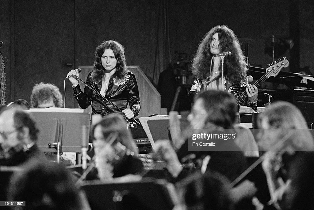 Singer David Coverdale and bass guitarist Glenn Hughes perform on Jon Lord's Gemini Suite (recorded for the album 'Windows') in Munich, Germany on 1st June 1974.