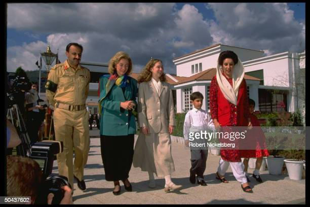 US 1st Lady Hillary Rodham Clinton daughter Chelsea out strolling w PM Benazir Bhutto children Benazir Bilawal on Asian tour stop in Islamabad...