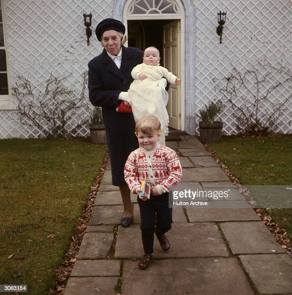 Son of Princess Alexandra of Kent James Ogilvy with his sister Marina and nanny in the grounds of their home Thatched House Lodge Richmond Park Surrey