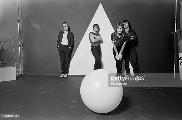 English band XTC posed in Parsons Green London in March 1978 Left to right Keyboard player Barry Andrews drummer Terry Chambers guitarist Andy...