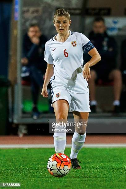 Maren Mjelde of Norway Women during the match between Norway v Iceland Women's Algarve Cup on March 1st 2017 in Parchal Portugal