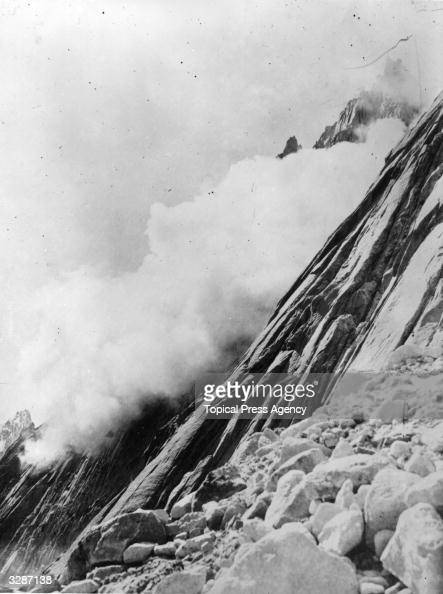 An avalanche cloud falling on Bilaphond Glacier during the Bullock Workman expedition in the Himalayas