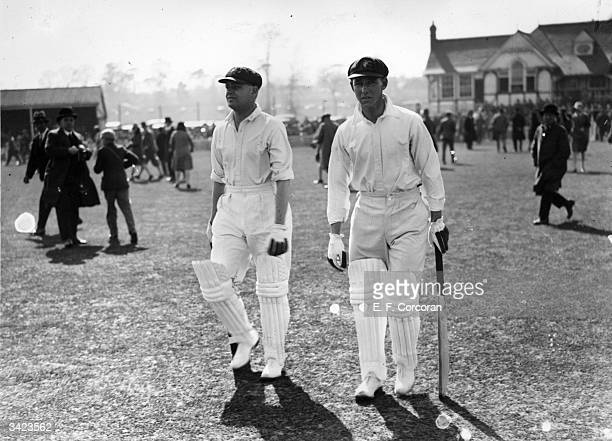 Australian opening batsmen Bill Woodfull and Archie Jackson going out to bat against Worcester at Worcester