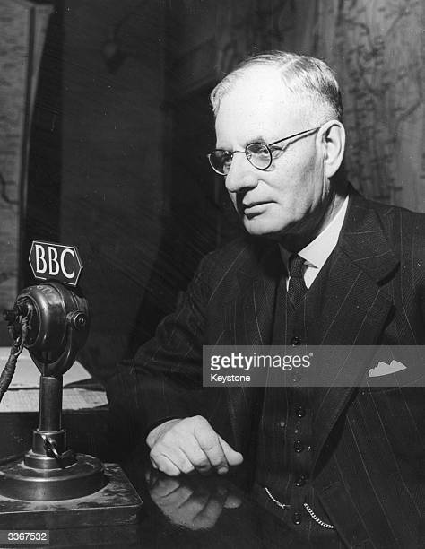 Prime Minister John Curtin of Australia in front of a microphone at the BBC in London