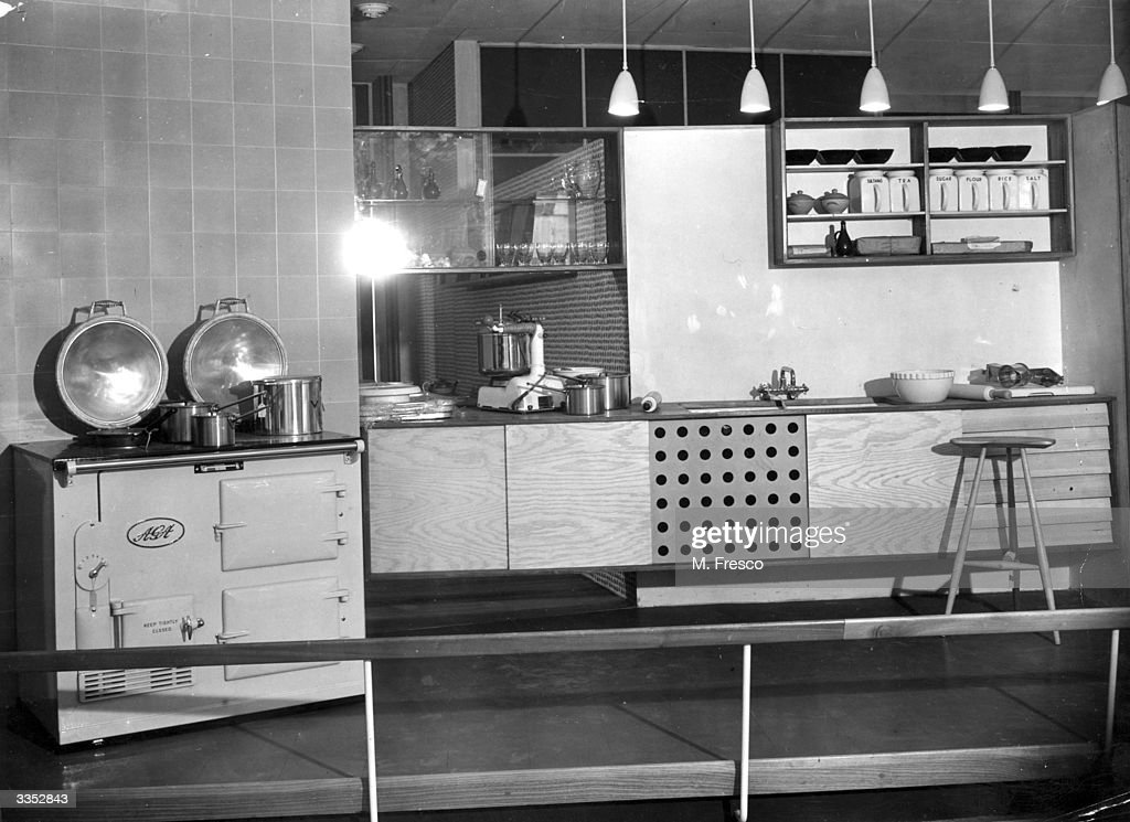 An example of a rural kitchen in the Homes and Gardens section of the Festival of Britain exhibition on the South Bank, London.