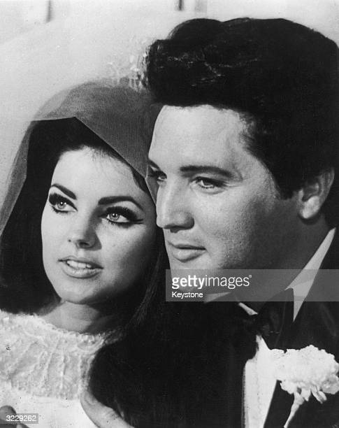 American rock n' roll singer and actor Elvis Presley with his bride Priscilla Beaulieu after their wedding in Las Vegas