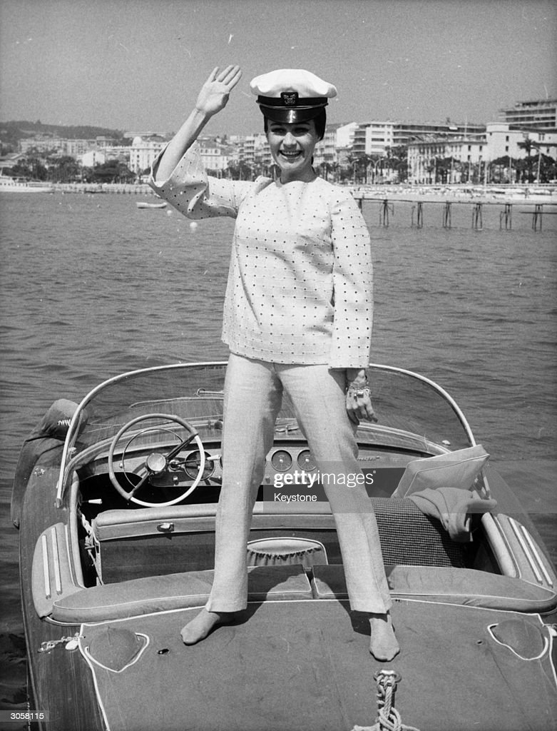 Yugoslavian actress Olivera Vuco takes a trip on a speedboat off the beach at Cannes. She is at the Cannes Film Festival to attend a showing of her latest film, Aleksandar Petrovic's 'Sakupljaci Perja' ('I Even Met Some Happy Gypsies'), which won the Grand Jury Prize at the festival.