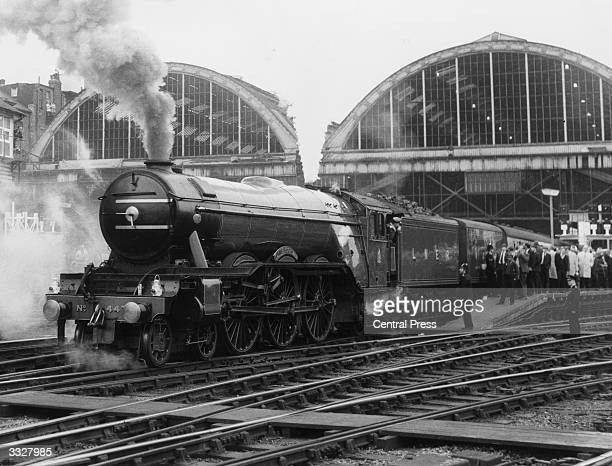 The Flying Scotsman steam locomotive leaves King's Cross station London For the 40th anniversary of its first trip the Flying Scotsman is making a...