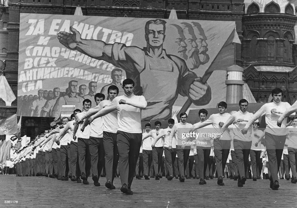 A parade of young Russian sportsmen during the Mayday celebrations in Red Square, Moscow. This years event did not contain any display of weaponry.