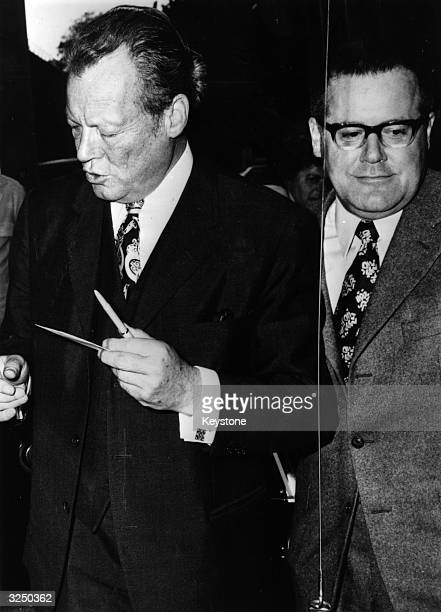 German Chancellor Willy Brandt and Gunter Guillaume the self confessed East German spy in Munich for the preliminaries for the election campaign