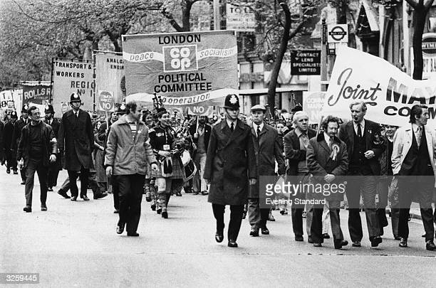 Tony Benn the Labour politician leads a march on May Day 1975 through London
