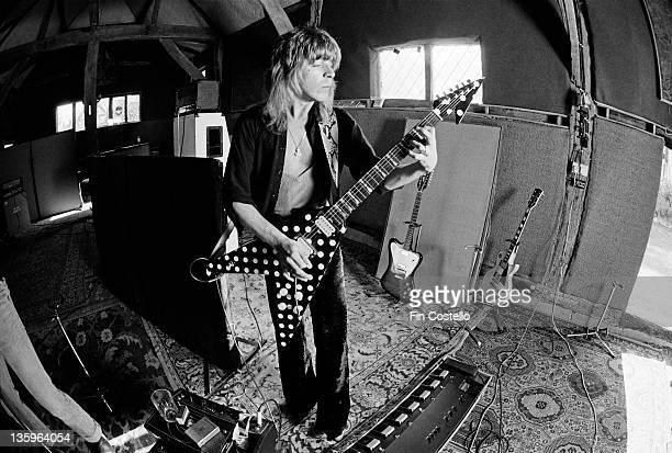 American guitarist Randy Rhoads recording Ozzy Osbourne's 'Blizzard of Ozz' album at Ridge Farm Studio in West Sussex England in May 1980