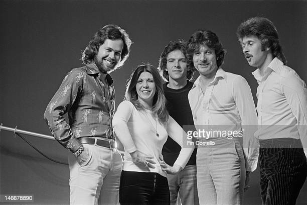 English progressive rock group Renaissance posed in New York USA in May 1976 Left to right Michael Dunford Annie Haslam Terry Sullivan John Tout and...