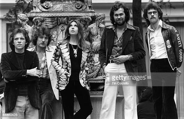 English progressive rock group Renaissance posed outside the New York Public Library in New York USA in May 1976 Left to right Terry Sullivan John...